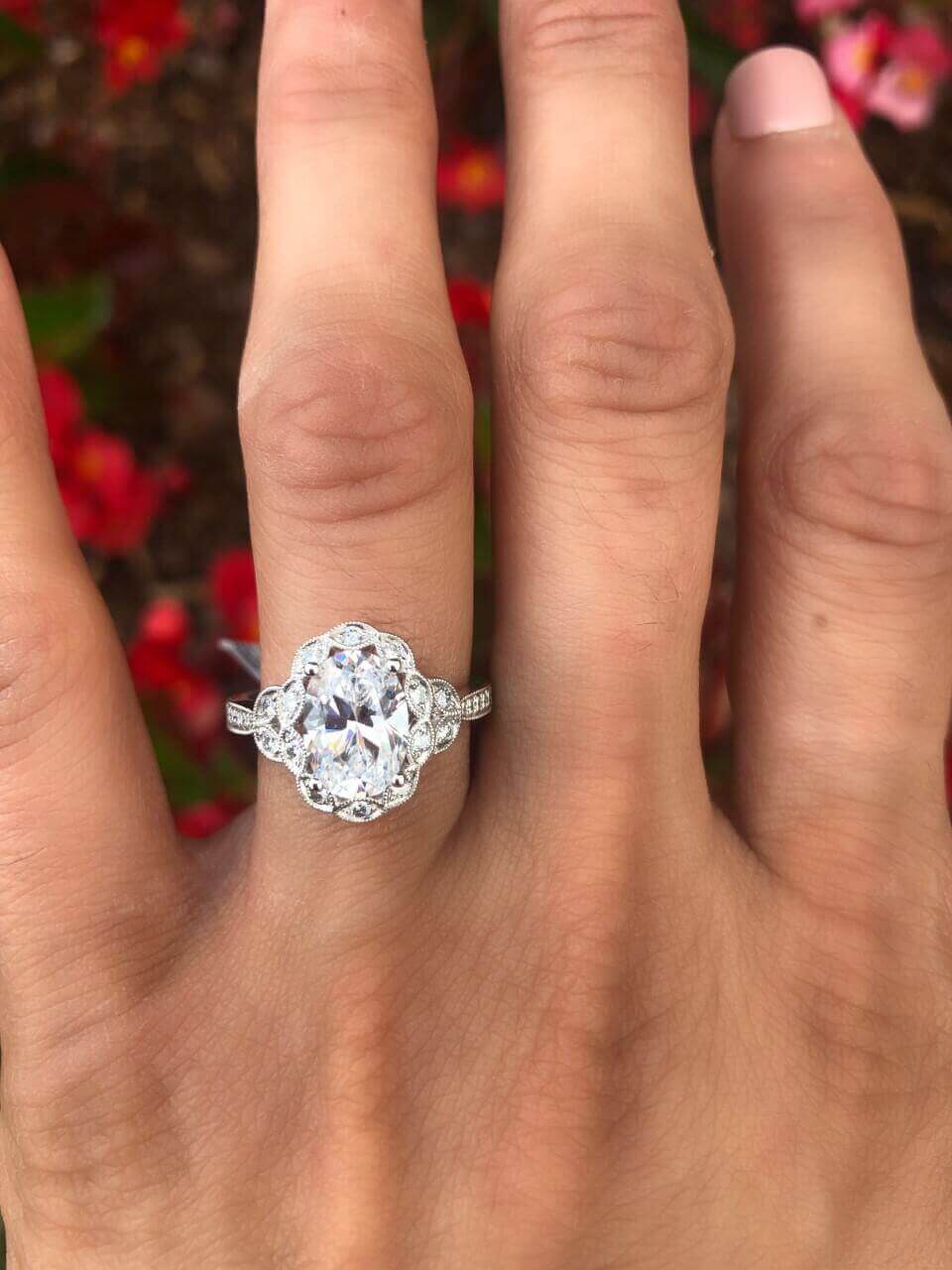 Sylvie Oval Shaped Vintage Style Engagement Ring