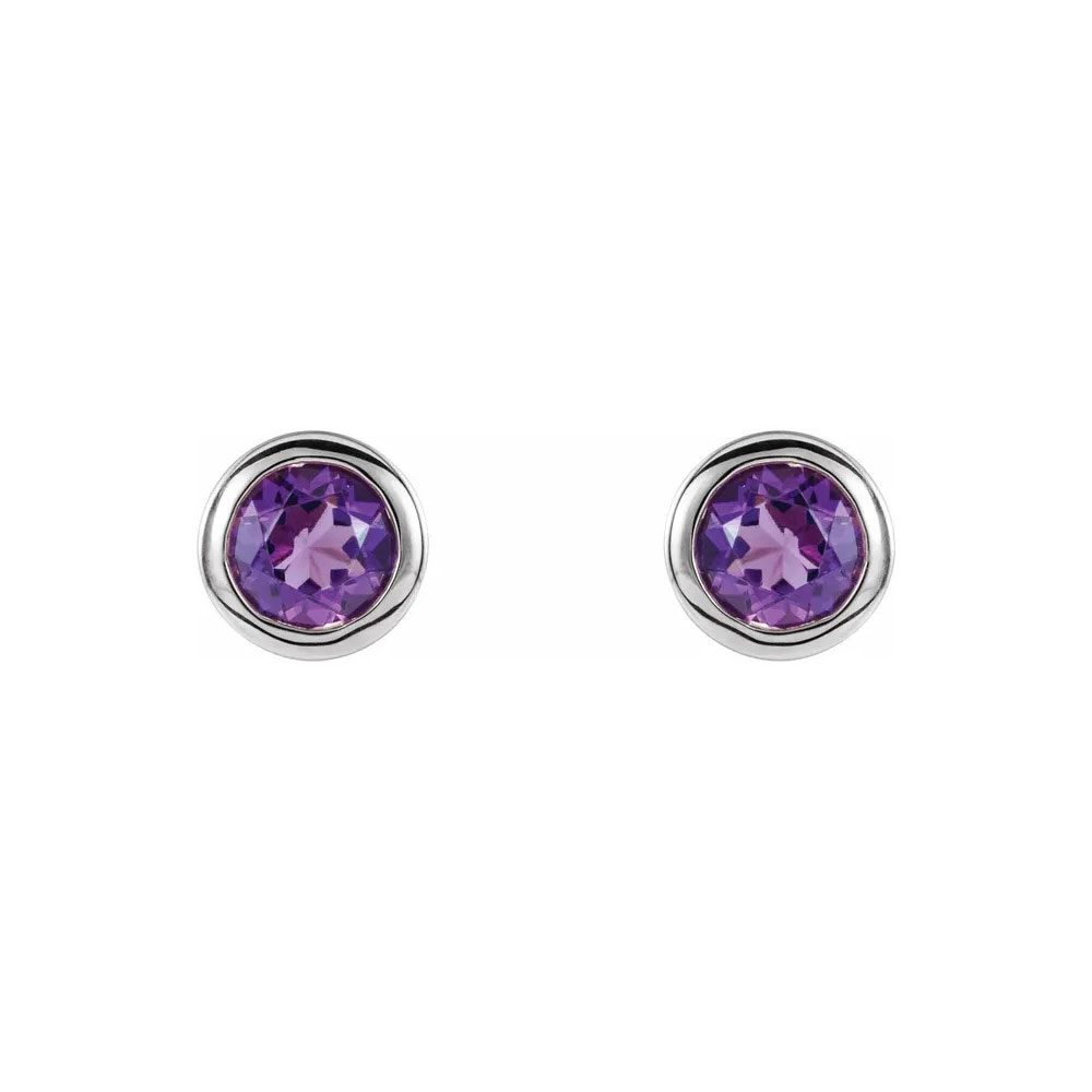 King Jewelers Bezel Set February Birthstone Earrings