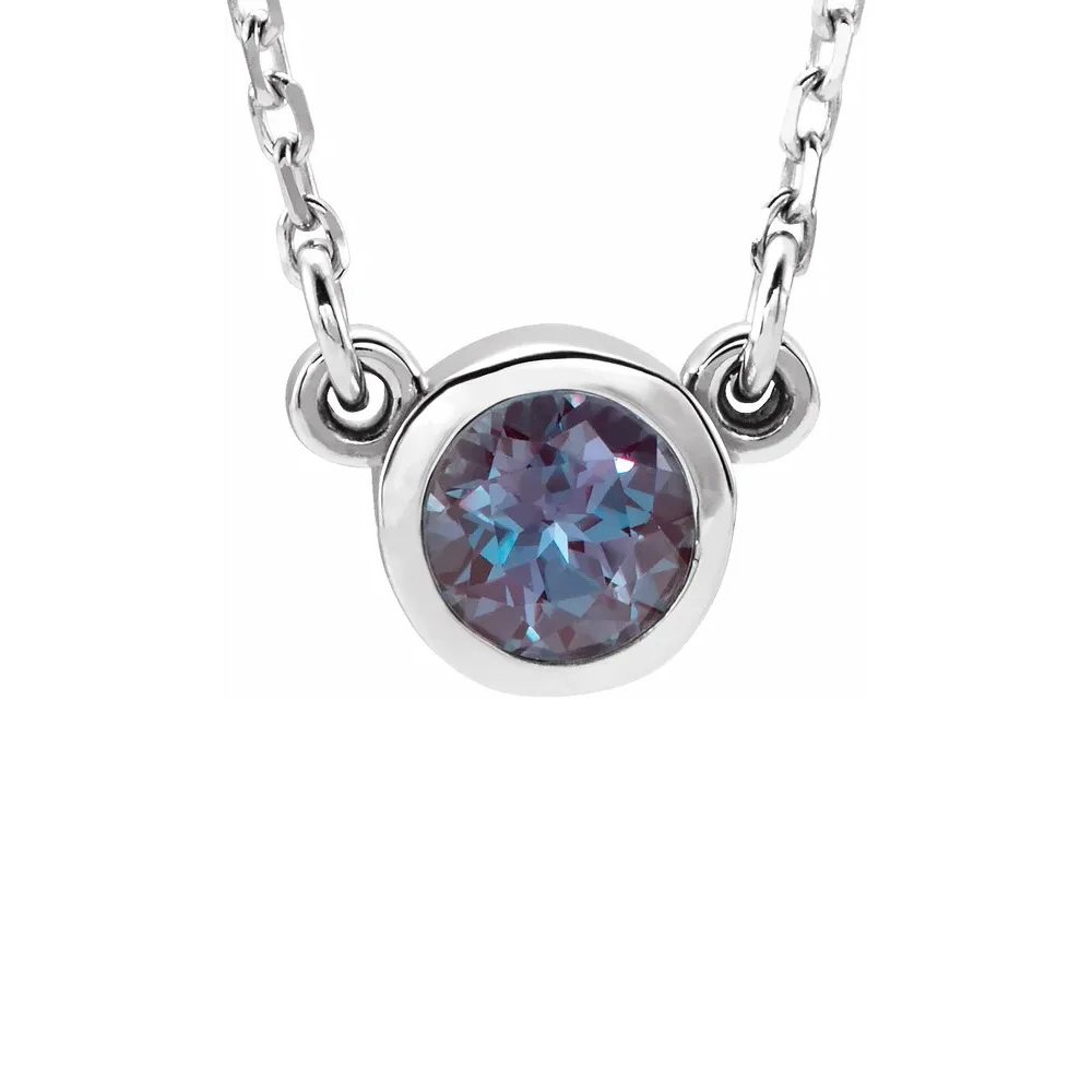 King Jewelers Bezel Set June Birthstone Necklace