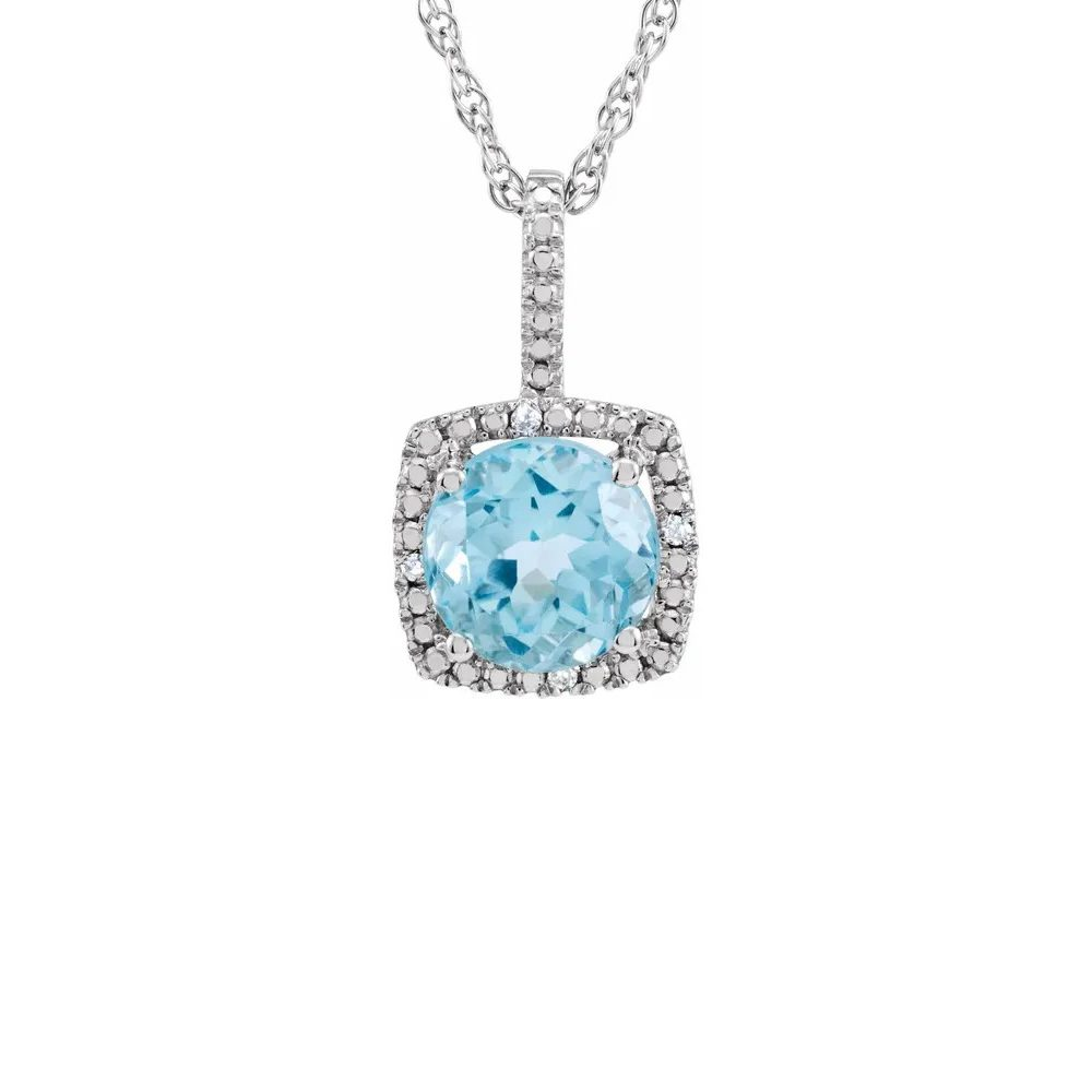 King Jewelers Diamond Halo December Birthstone Necklace