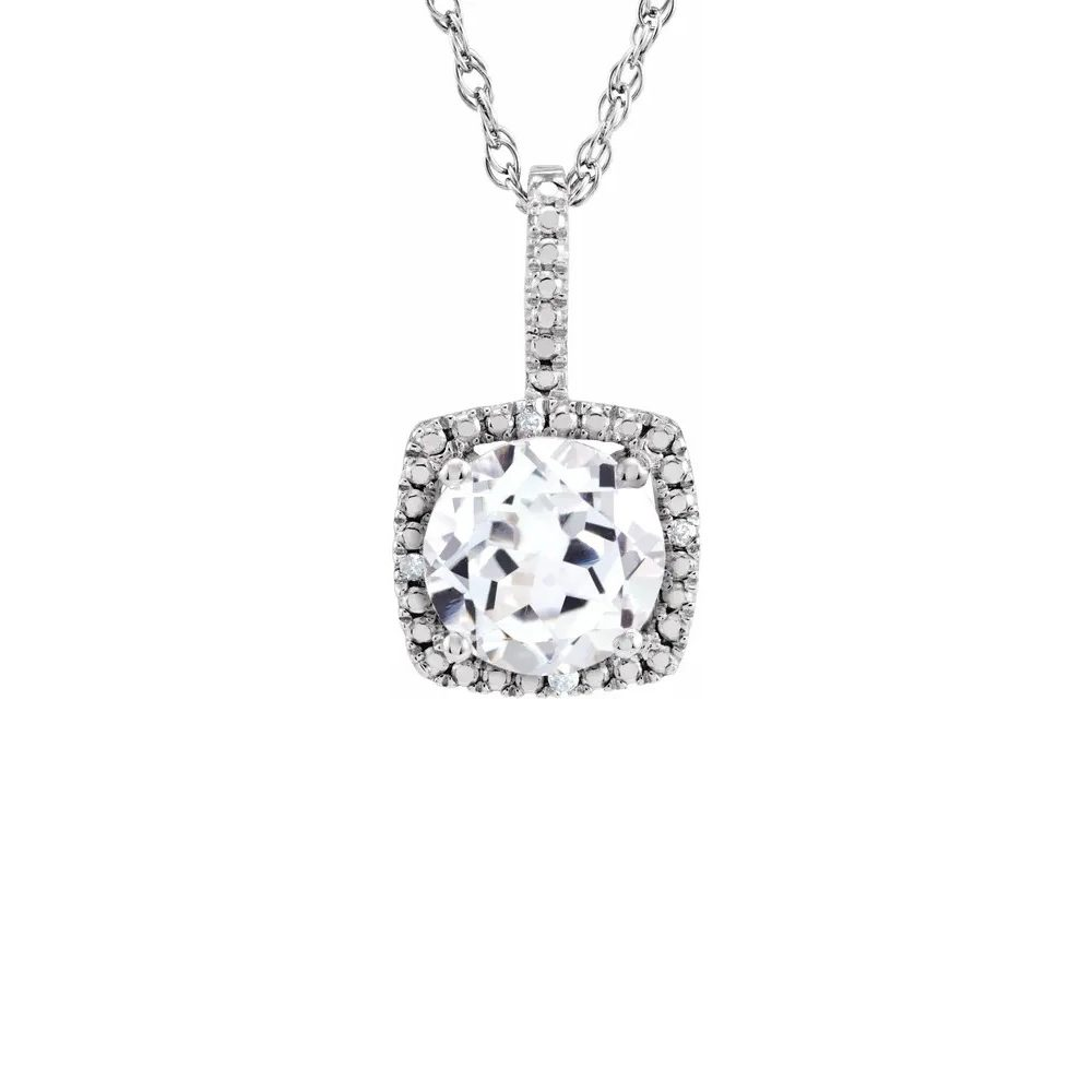King Jewelers Diamond Halo April Birthstone Necklace