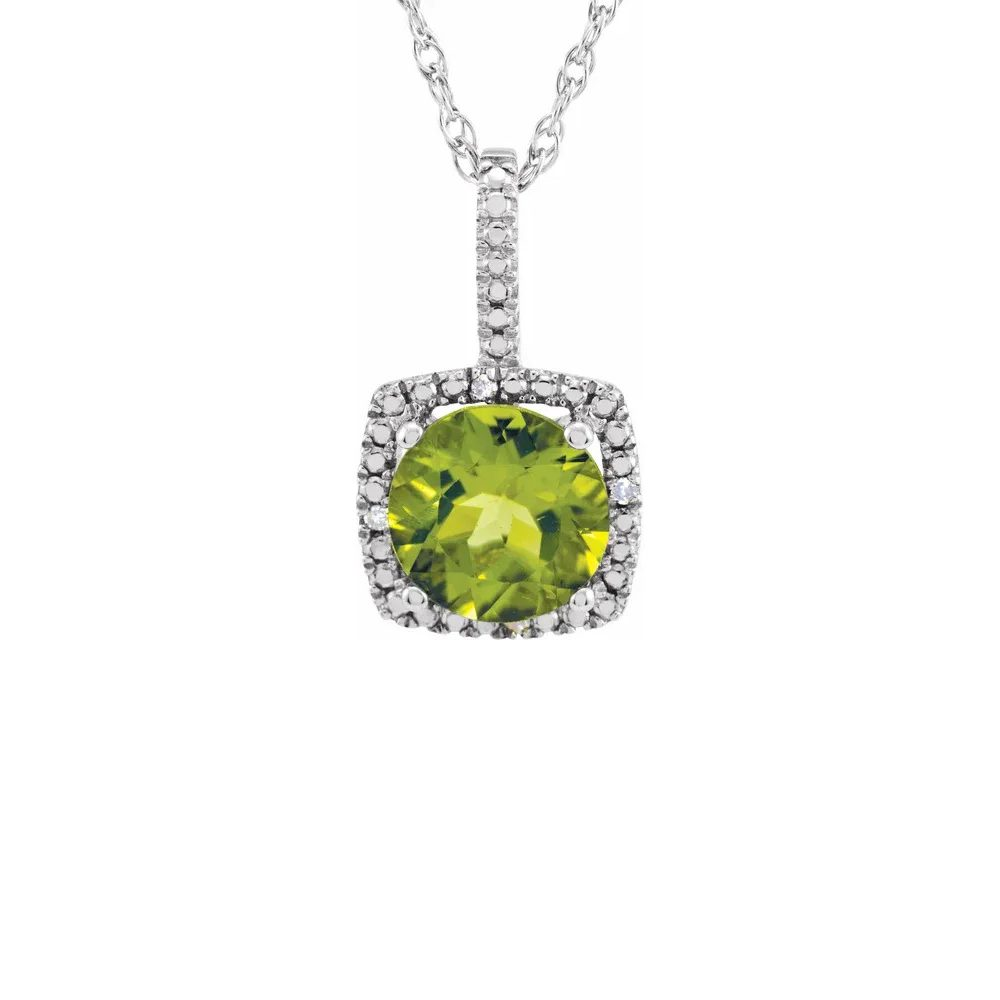 King Jewelers Diamond Halo August Birthstone Necklace