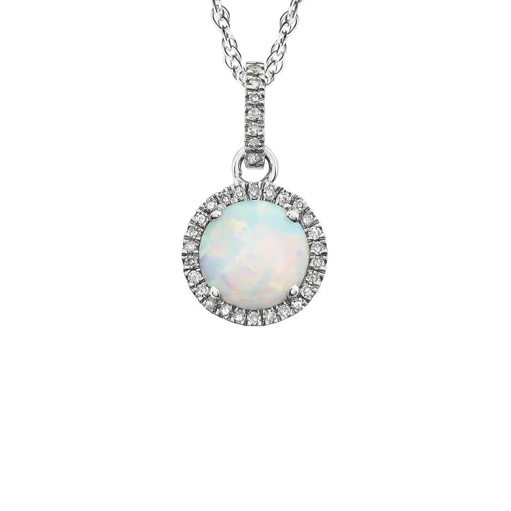 King Jewelers Diamond Halo October Birthstone Necklace