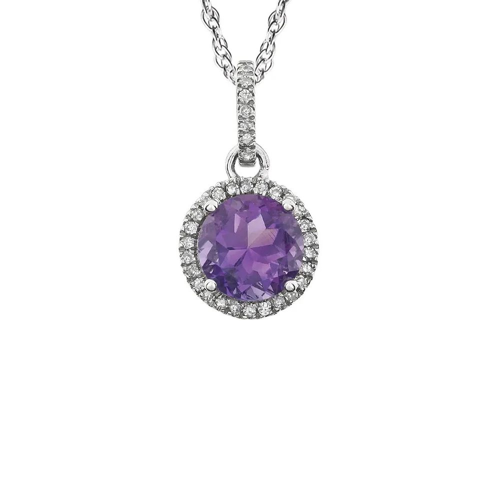 King Jewelers Diamond Halo February Birthstone Pendant