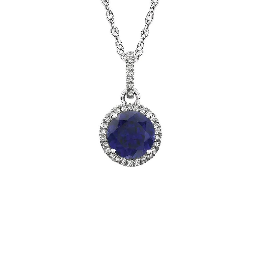King Jewelers Diamond Halo September Birthstone Pendant