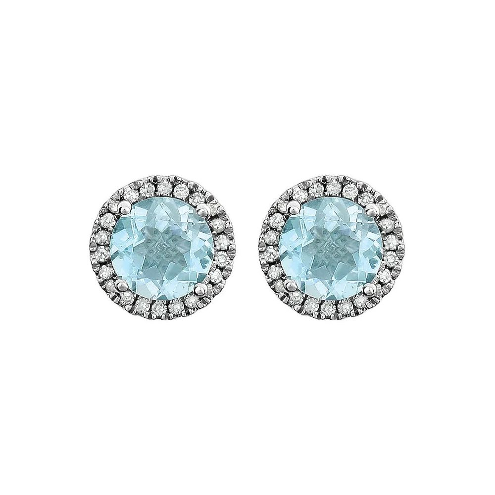 King Jewelers Topaz and Diamond Halo December Birthstone Earrings