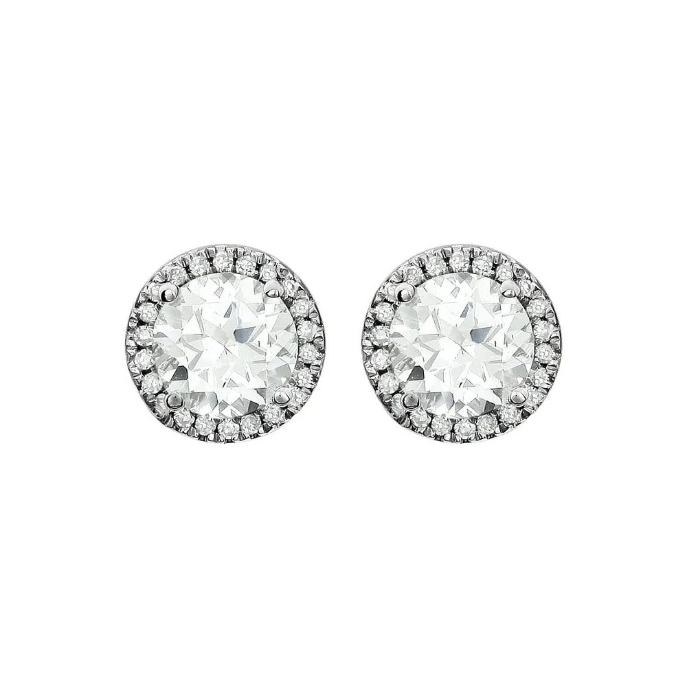 King Jewelers White Sapphire and Diamond Halo April Birthstone Earrings