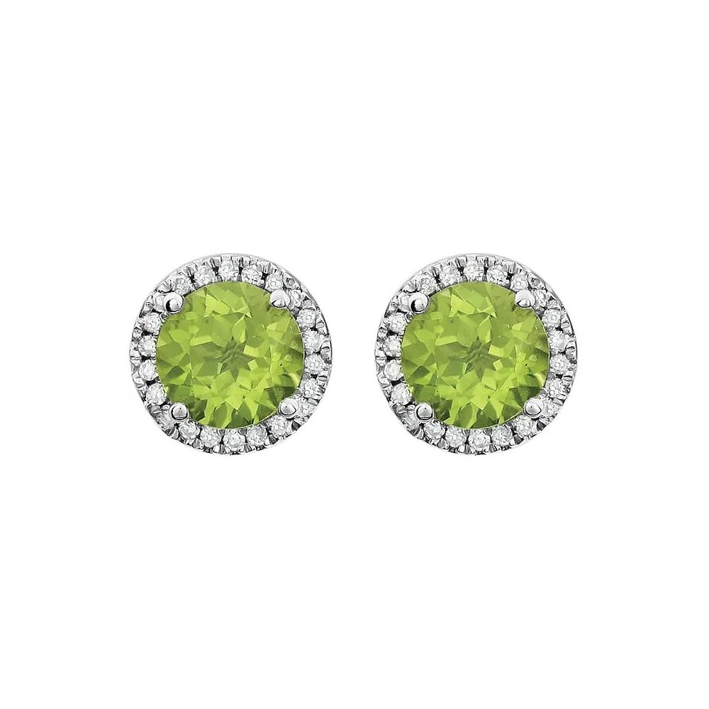 King Jewelers Peridot and Diamond Halo August Birthstone Earrings