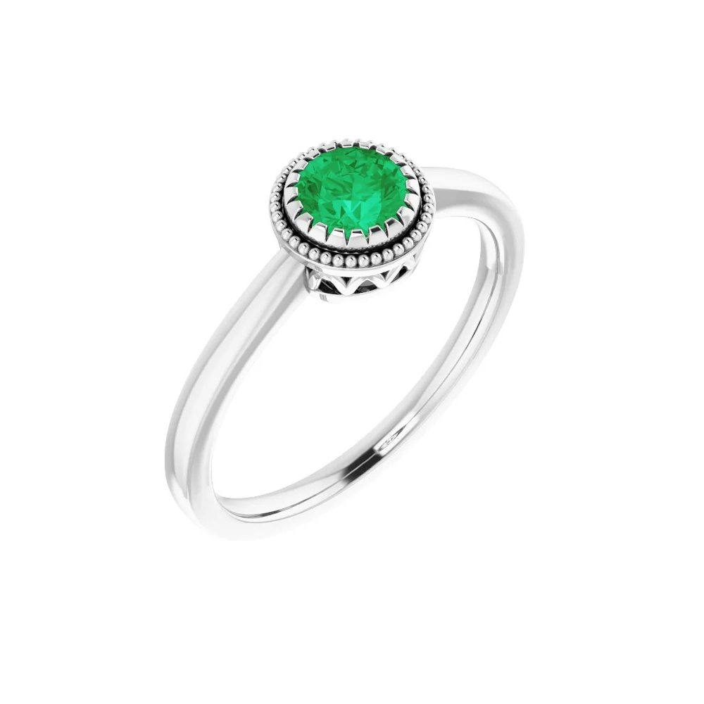 King Jewelers Bezel Set Emerald May Birthstone Ring