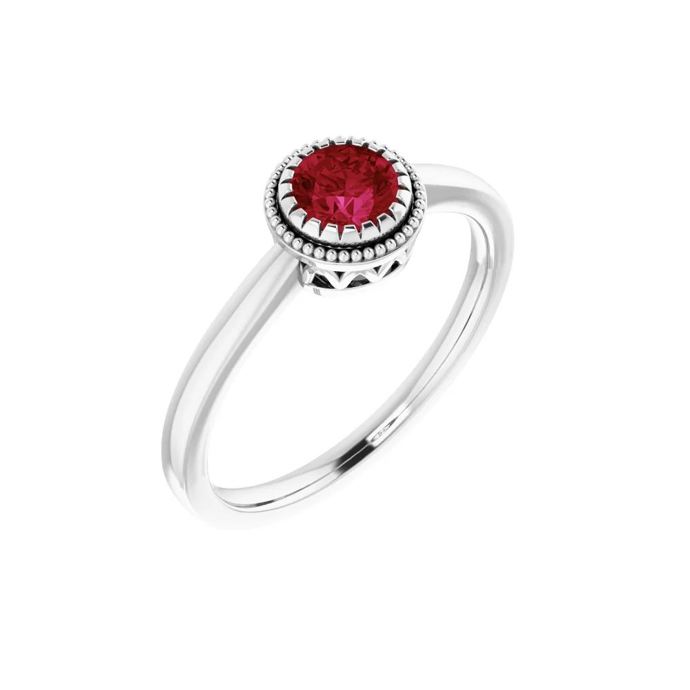 King Jewelers Bezel Set Ruby July Birthstone Ring