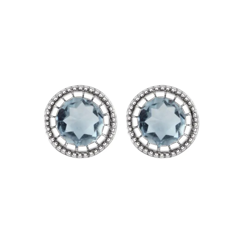 King Jewelers Bezel Set Aquamarine March Birthstone Earrings