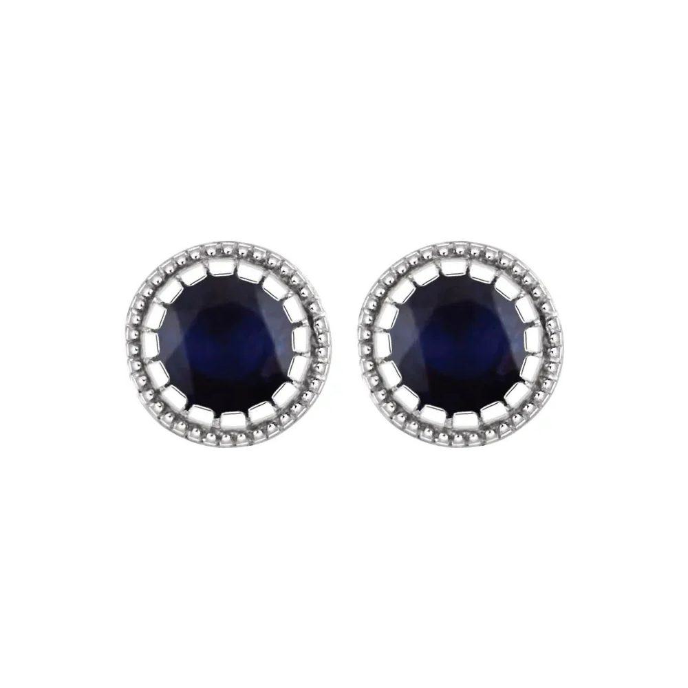 King Jewelers Bezel Set Sapphire September Birthstone Earrings