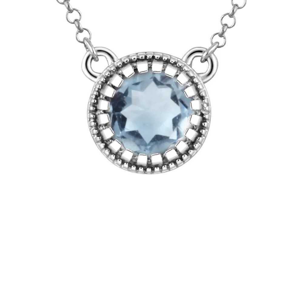 King Jewelers Bezel Set March Birthstone Pendant