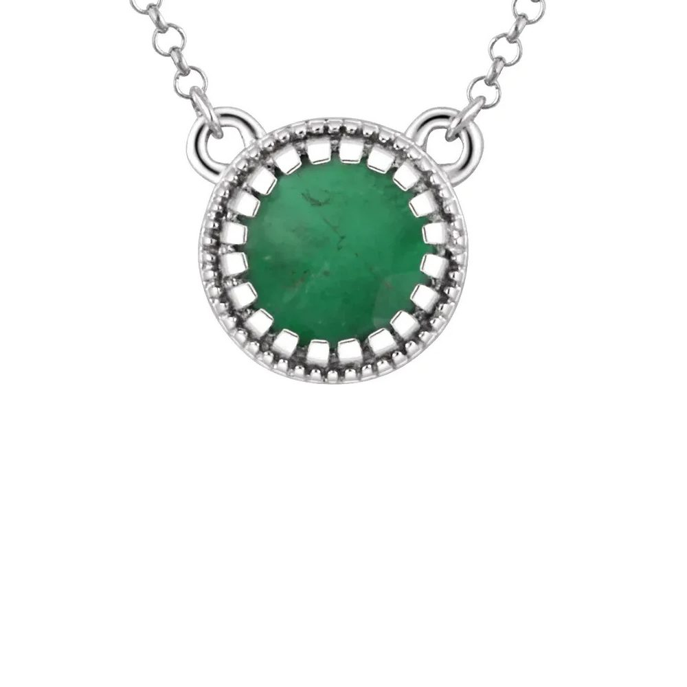 King Jewelers Bezel Set May Birthstone Pendant