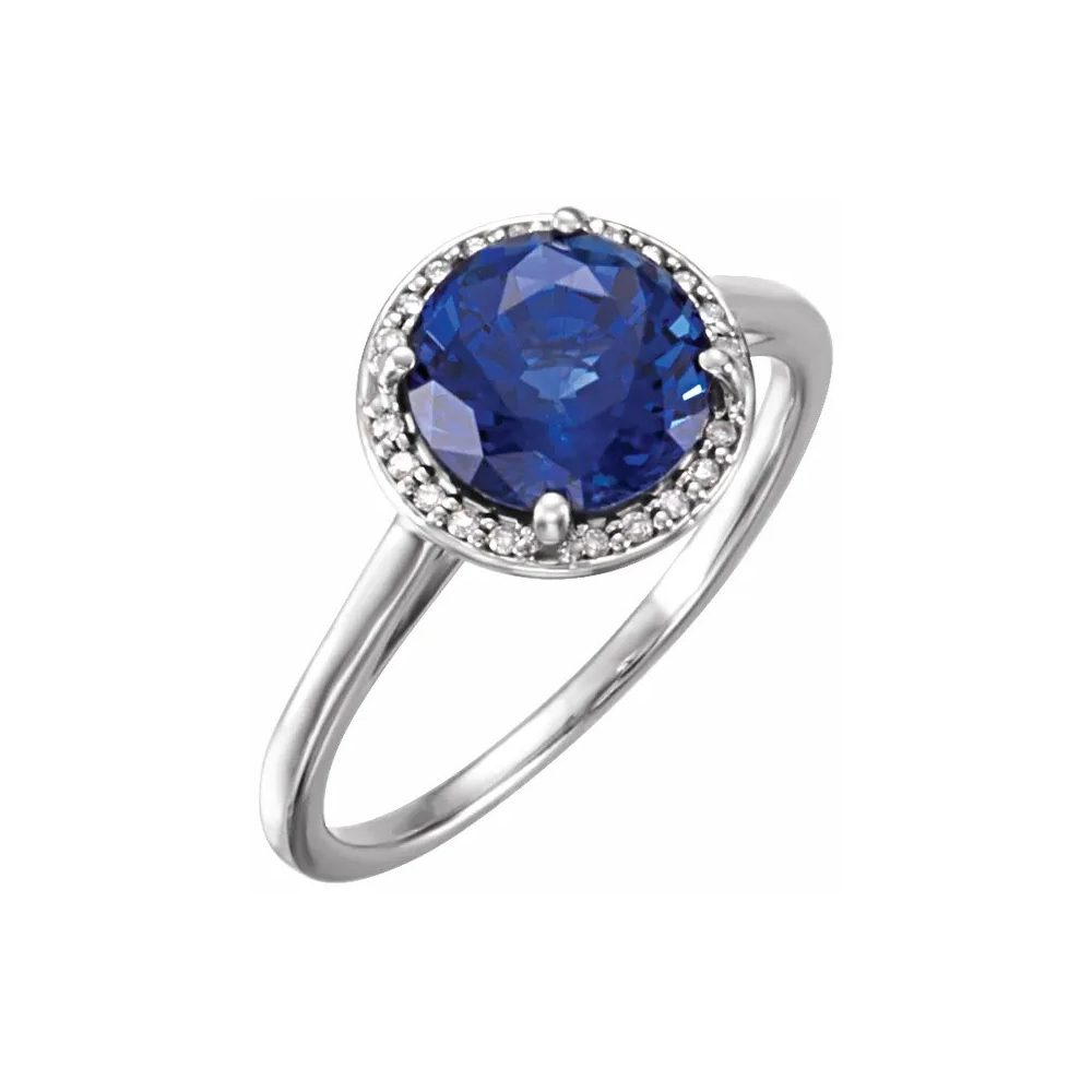 King Jewelers Diamond Halo September Birthstone Ring