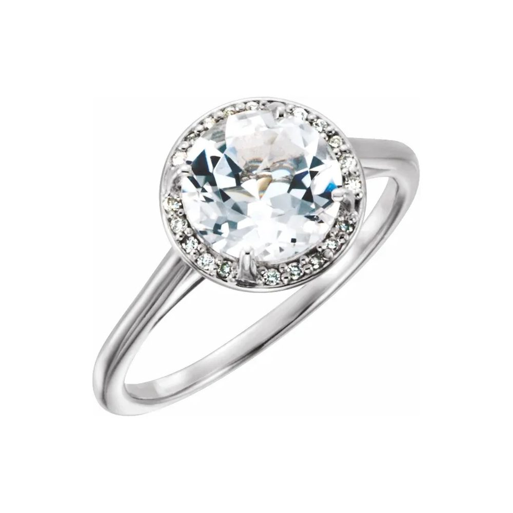 King Jewelers Diamond Halo April Birthstone Ring