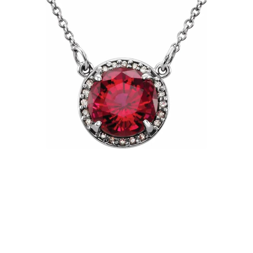 King Jewelers Diamond Halo July Birthstone Necklace