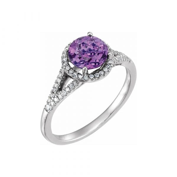 King Jewelers Amethyst and Diamond Halo February Birthstone Ring