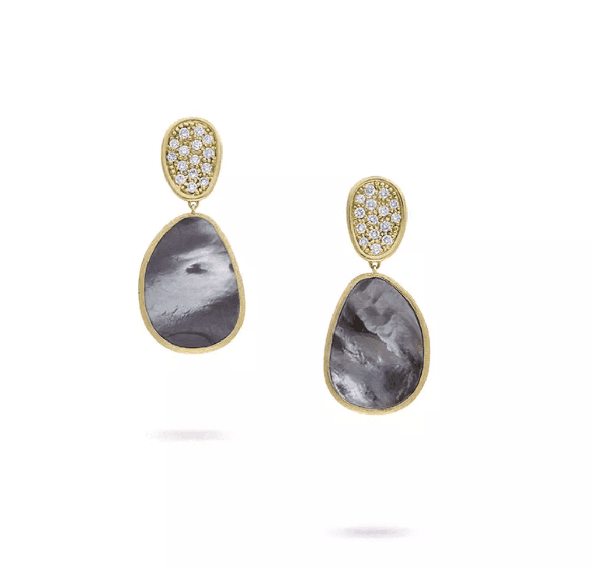 Marco Bicego Lunaria Black Mother of Pearl and Diamond Small Drop Earrings