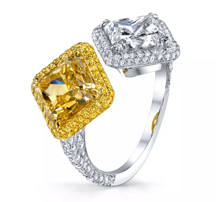 KJ5 Bypass yellow fancy and diamond ring