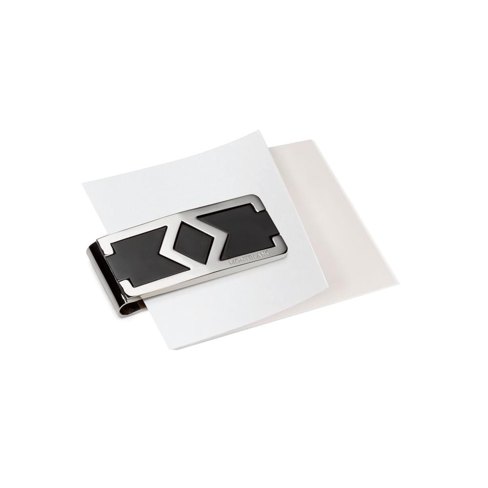 Montblanc Stainless Steel Signature Money Clip holding paper