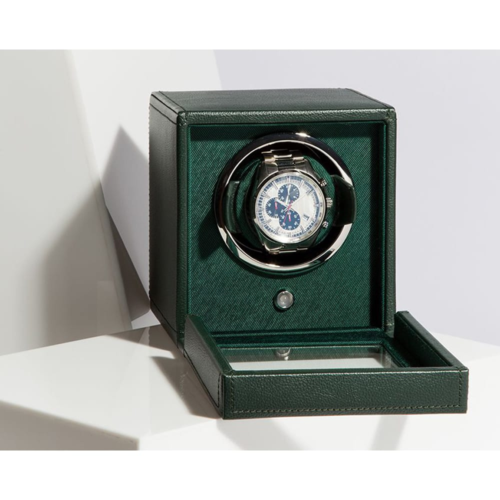 Wolf Cub Single Watch Winder With Cover Green with watch